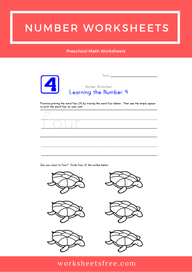 Number Worksheets Learning number Four