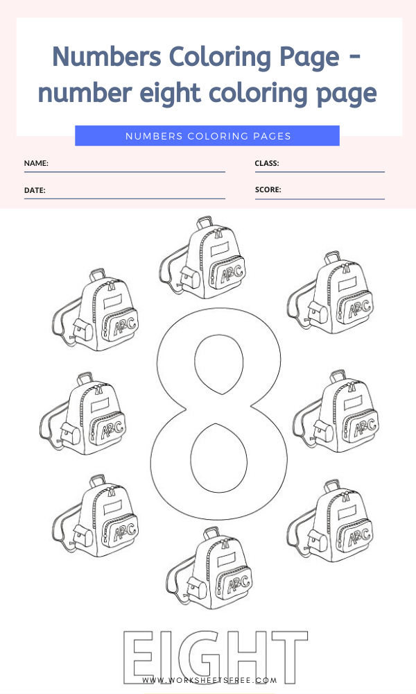 Numbers Coloring Page - number eight coloring page