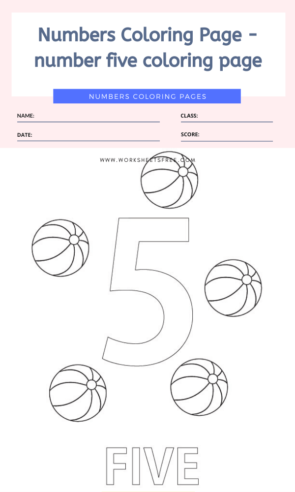 Numbers Coloring Page - number five coloring page