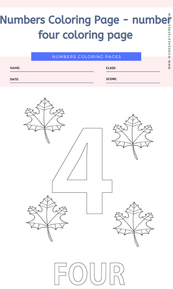 Numbers Coloring Page - number four coloring page