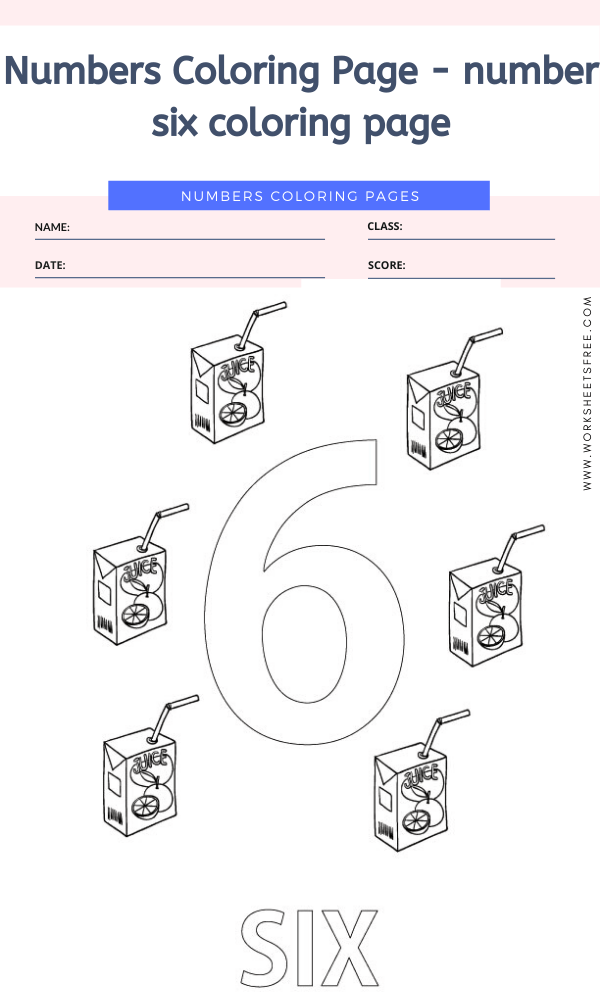 Numbers Coloring Page - number six coloring page