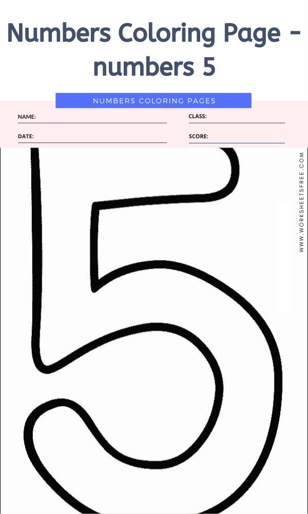 Numbers Coloring Page - numbers 5
