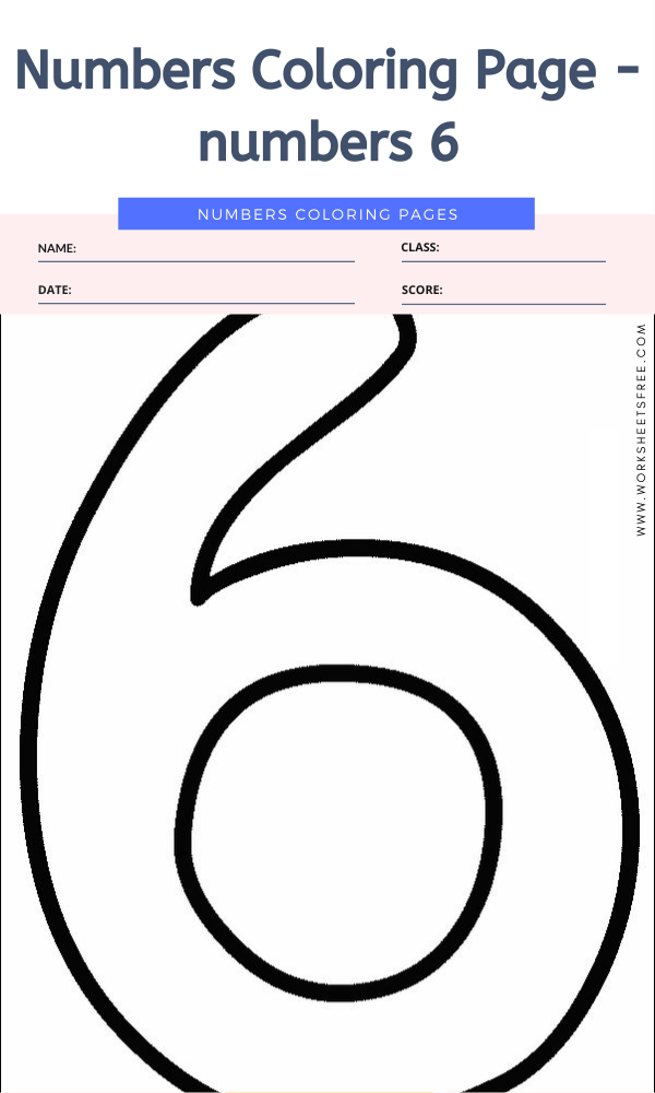Numbers Coloring Page - numbers 6