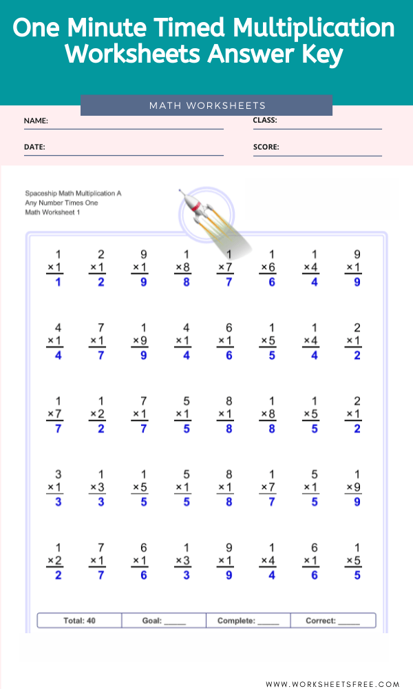 One Minute Timed Multiplication Worksheets Answer Key