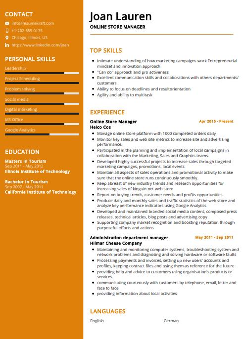 Online Store Manager Resume Sample 1