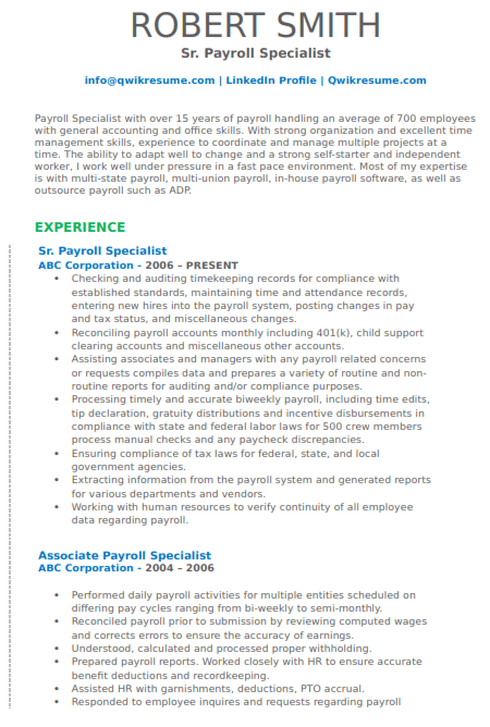 Payroll Specialist Resume Example 5
