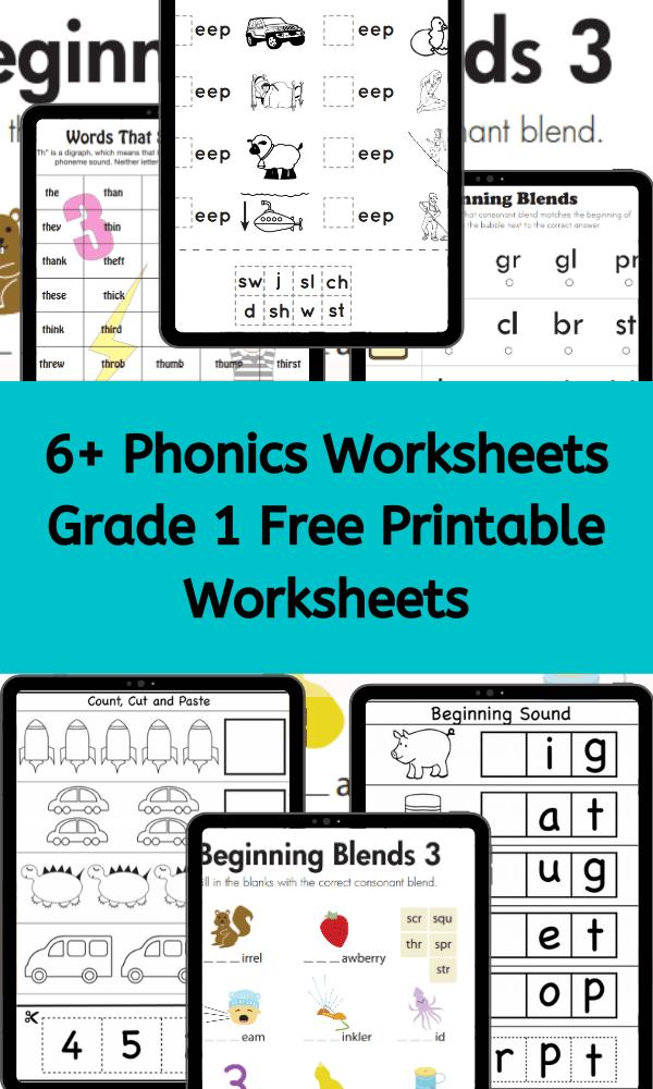 Phonics Worksheets Grade 1 Worksheets Free