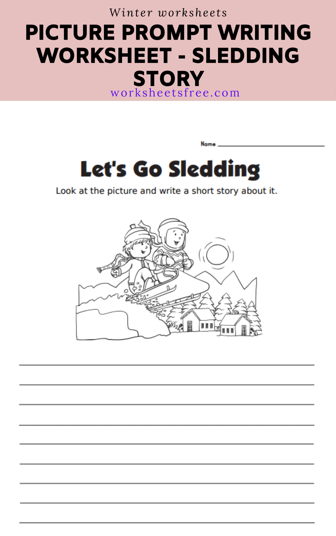Picture Prompt Writing Worksheet - Sledding Story