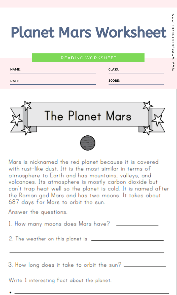 Planet Mars Worksheet