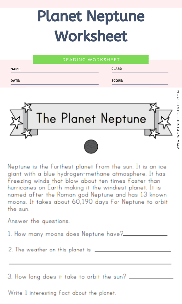 Planet Neptune Worksheet