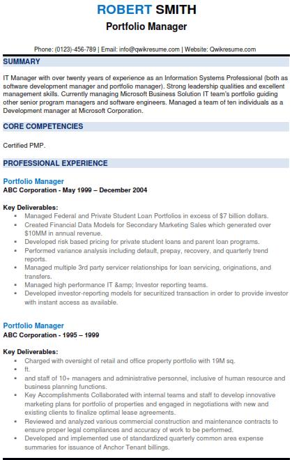 Portfolio Manager Resume Example 1