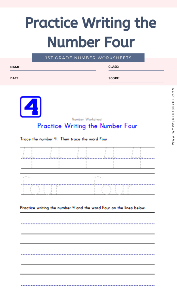 Practice Writing the Number Four