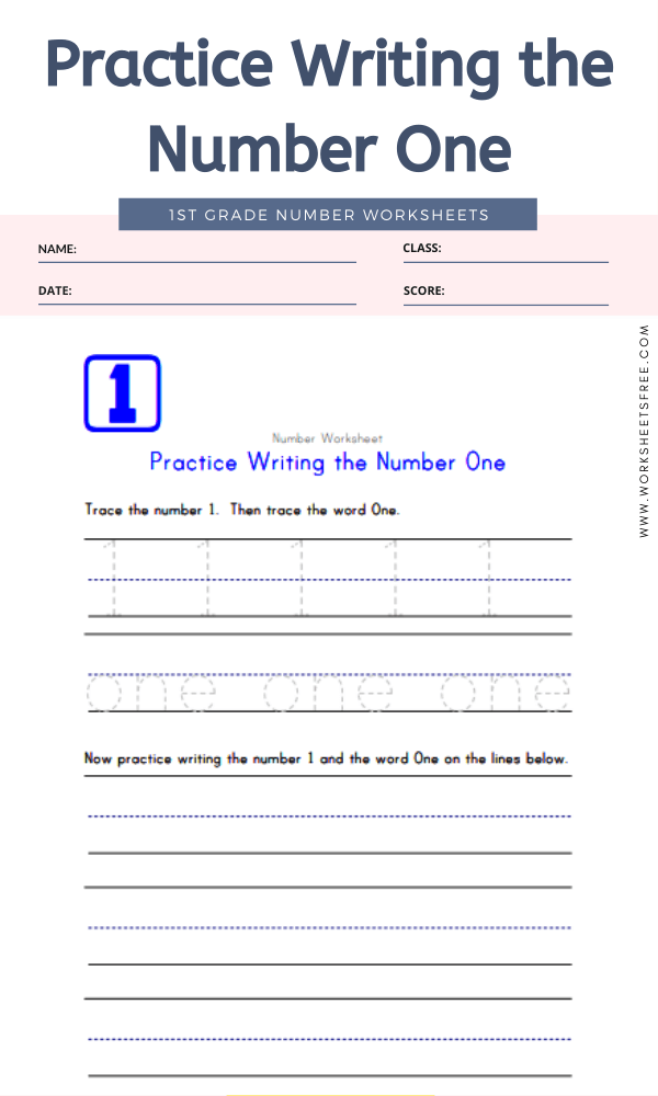 Practice Writing the Number One