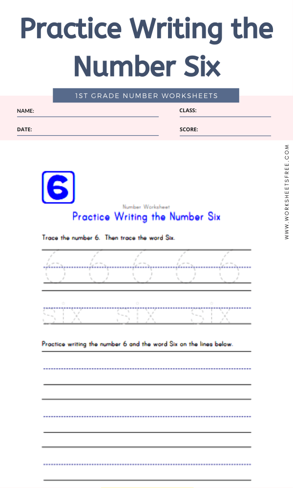 Practice Writing the Number Six