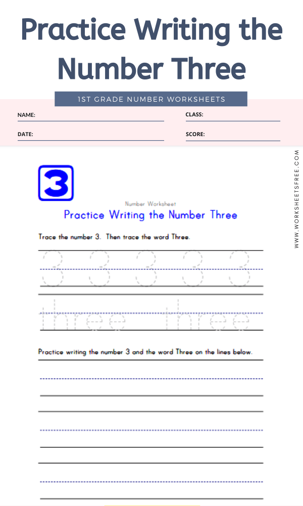 Practice Writing the Number Three