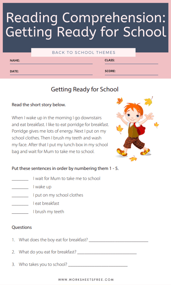 Reading Comprehension Getting Ready for School