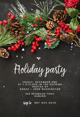Rustic pine wreath - Christmas Invitation
