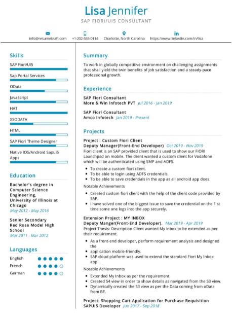 SAP UI5 Fiori Consultant Resume Sample 1