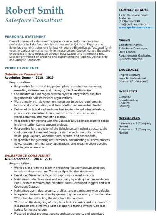 Salesforce CRM Resume Sample 2