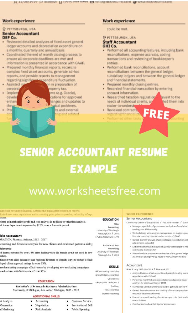 Senior Accountant Resume Example