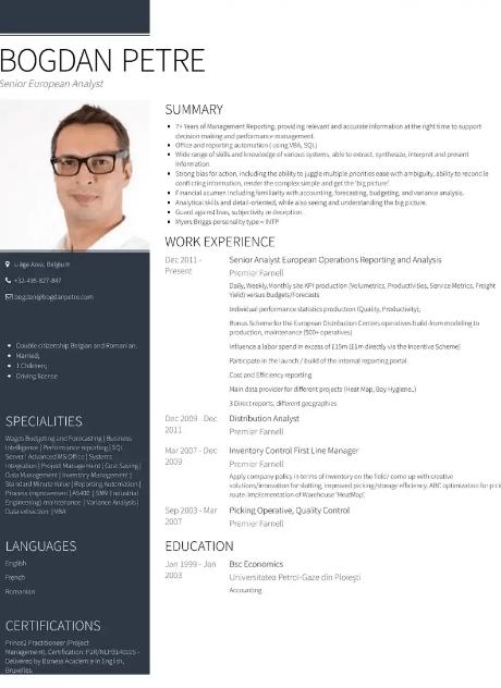Senior Analyst Resume Sample 5