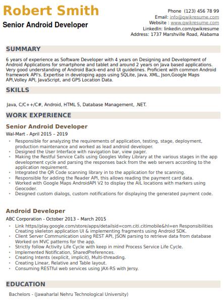 Senior Android Engineer Resume Sample 5