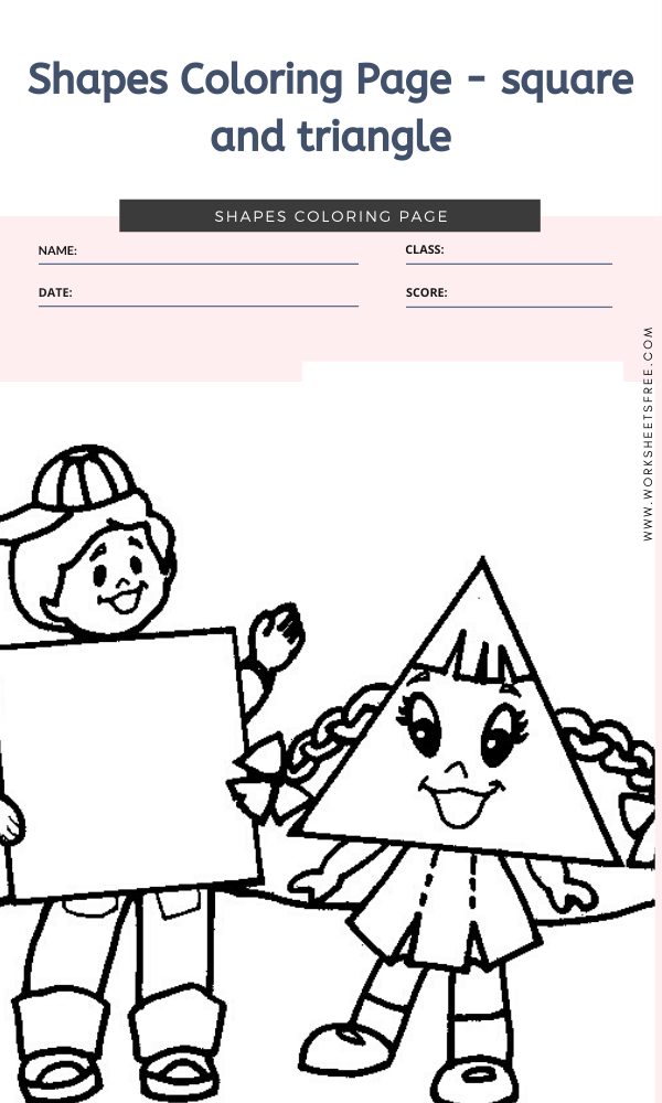 Shapes Coloring Page - square and triangle