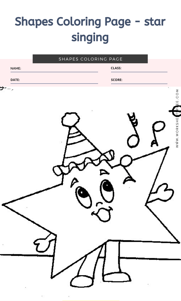 Shapes Coloring Page - star singing