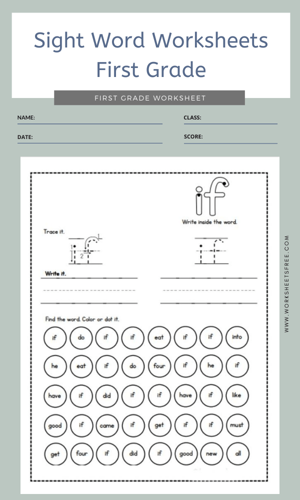 Sight Word Worksheets First Grade 2
