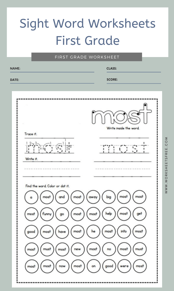 Sight Word Worksheets First Grade 3