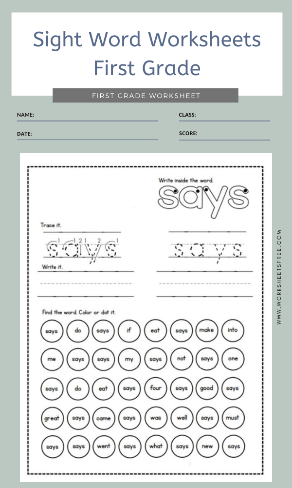 Sight Word Worksheets First Grade 5