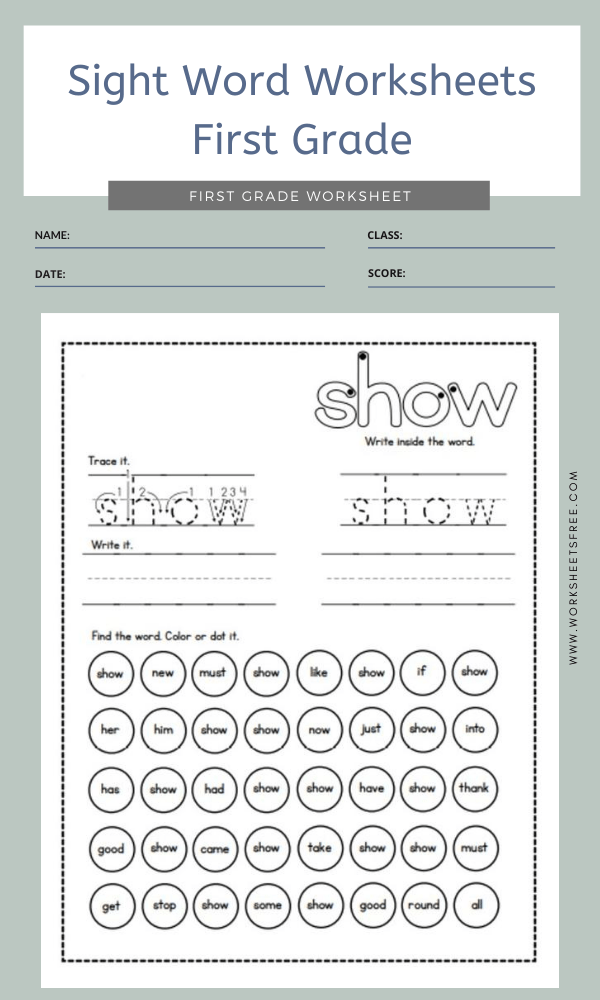 Sight Word Worksheets First Grade 6