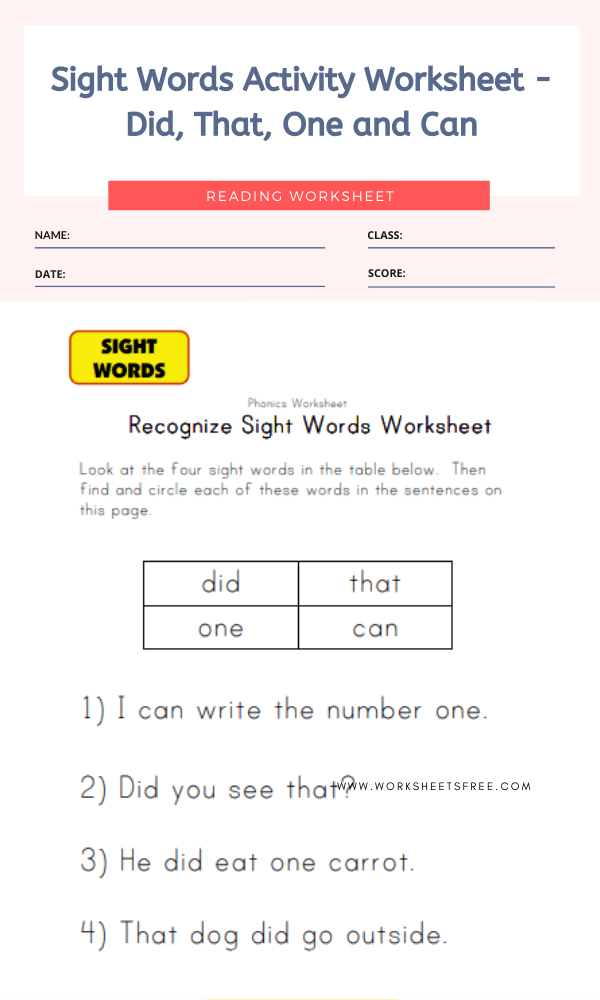 Sight Words Activity Worksheet - Did, That, One and Can