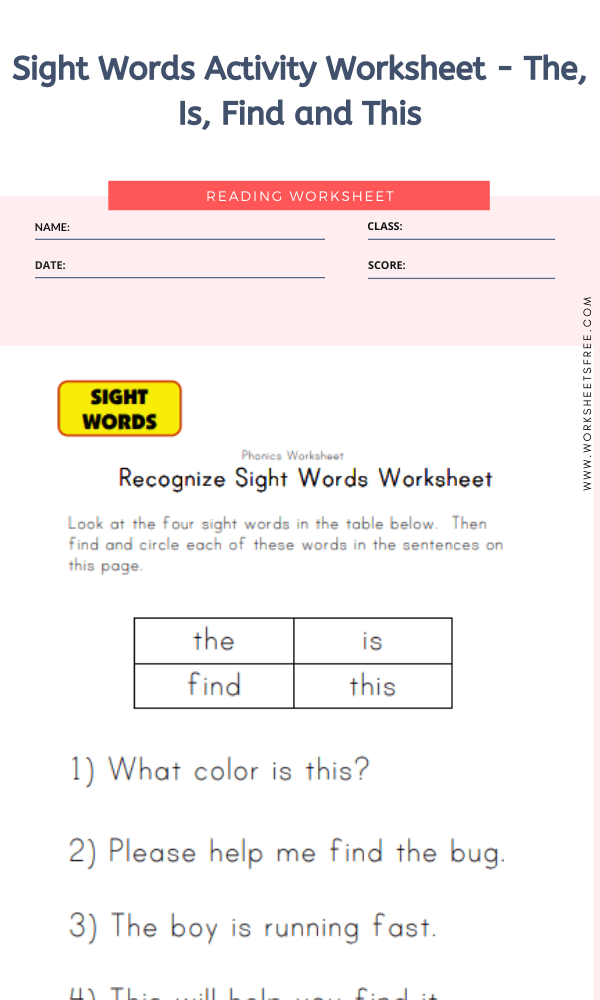Sight Words Activity Worksheet - The, Is, Find and This