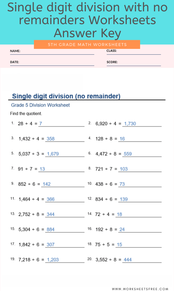 Single digit division with no remainders Worksheets For Grade 5 Answer Key
