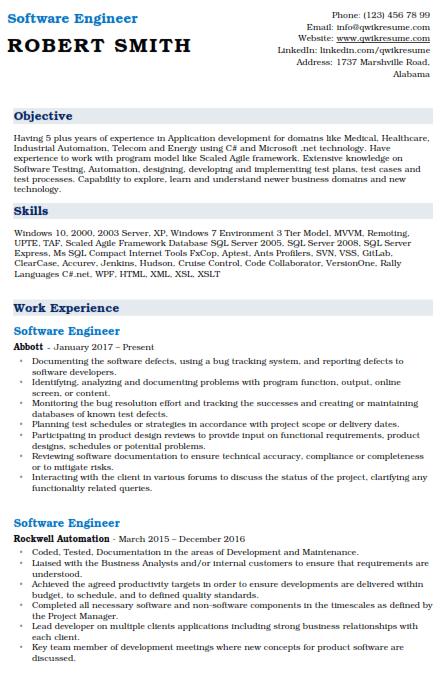 Software Engineer Resume Sample 5