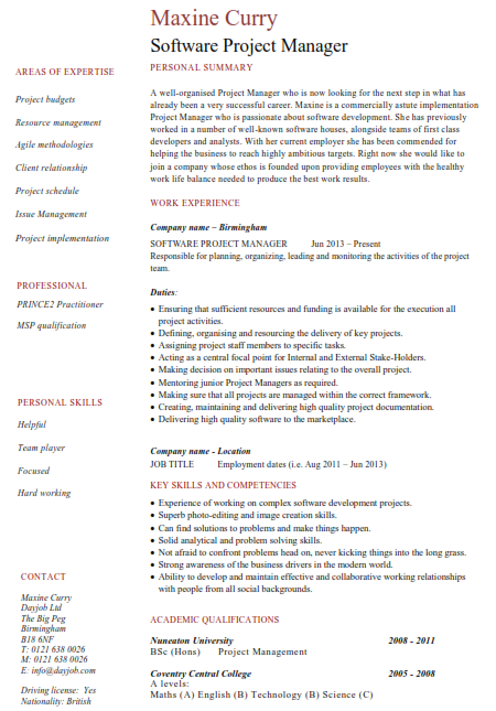 Software Project Manager Resume Sample 4