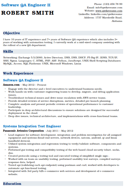 Software Quality Assurance Engineer Resume 2Software Quality Assurance Engineer Resume 2
