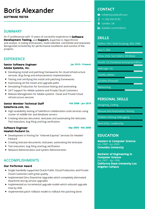 Software Tester Resume Example 1