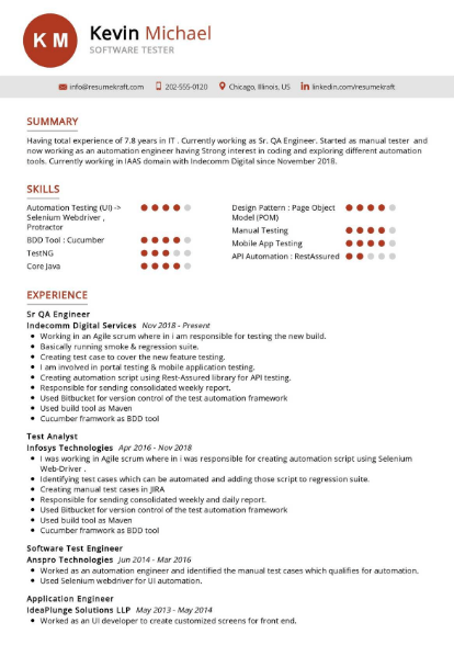 Software Tester Resume Example 4