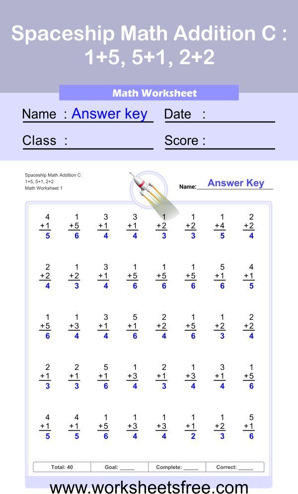 Spaceship Math Addition C 1 + answer