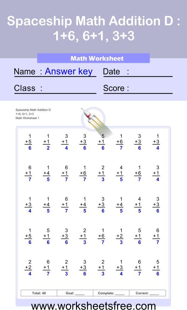 Spaceship Math Addition D 1 + Answer