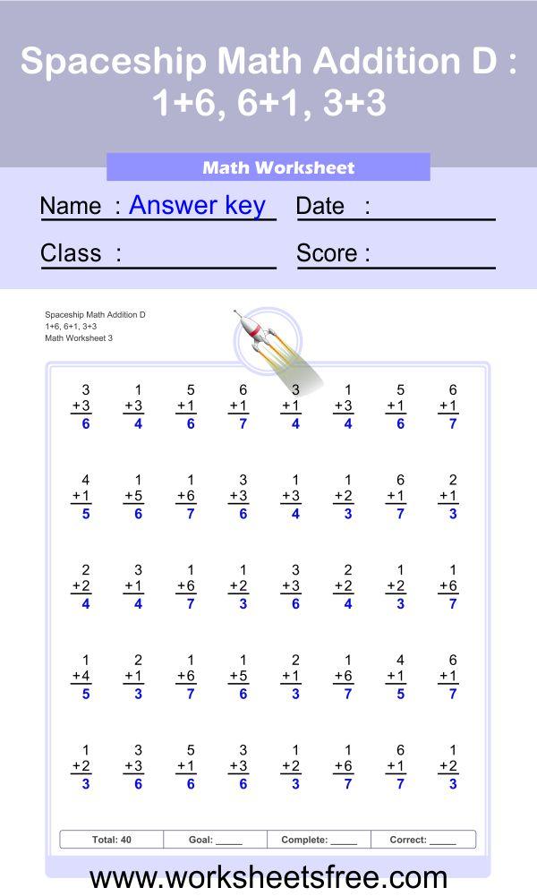 Spaceship Math Addition D 3 + Answer