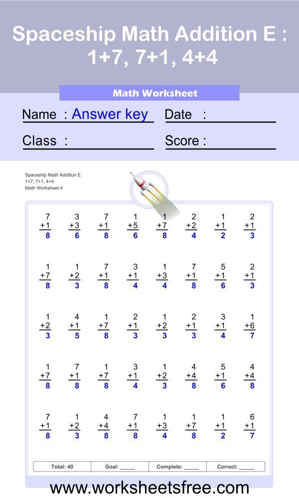 Spaceship Math Addition E 4 + answer