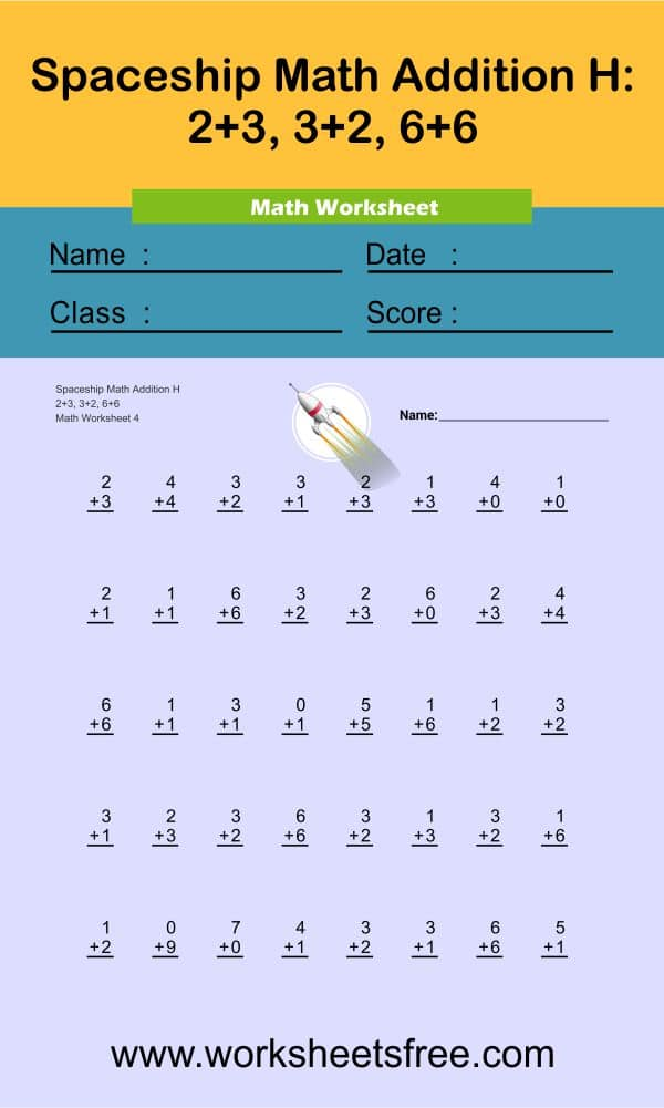 Spaceship Math Addition H 4