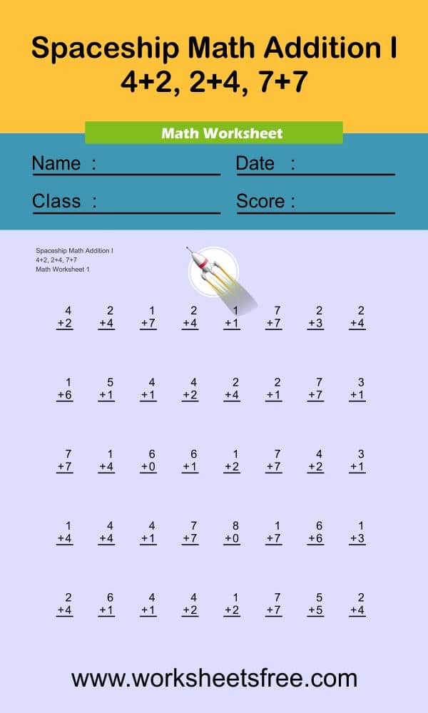 Spaceship Math Addition I 1