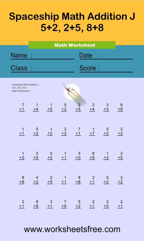 Spaceship Math Addition J 4