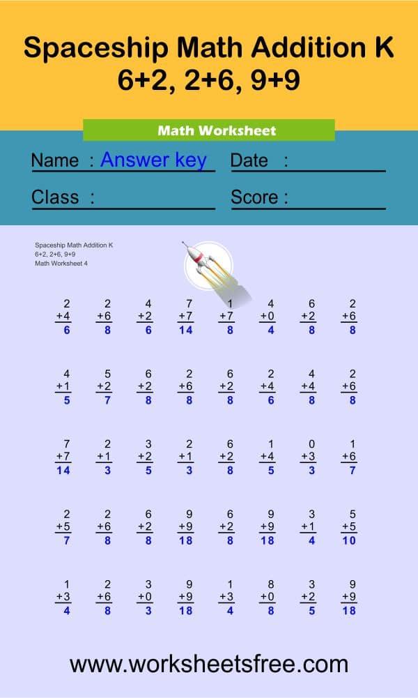 Spaceship Math Addition K 4 + answer
