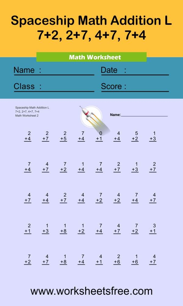 Spaceship Math Addition L 2