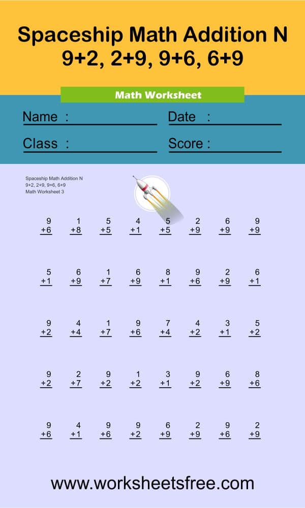 Spaceship Math Addition N 3